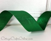 "Wired Ribbon, 1 1/2"",  Green Metallic - THREE YARDS - Offray ""Gleam Emerald"", Christmas, St Patrick's, Mardi Gras Wire Edged Ribbon"