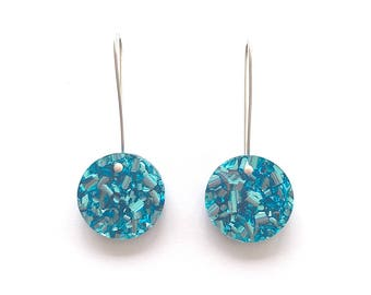 Round  Glitter Drops - Ice Blue Glitter - Small - Each To Own - Laser Cut Drop Earrings