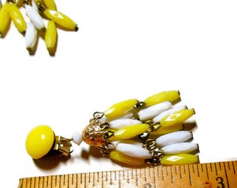 Vintage Chandelier Earrings Yellow White Clip On 1950s Mid Century
