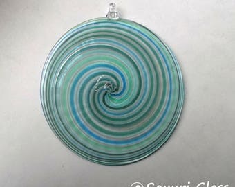 "Sun Catcher / Ornament  4"" diameter- Swirl Series- Blue Green with Clear Hook  : DISASTER RELIEF"