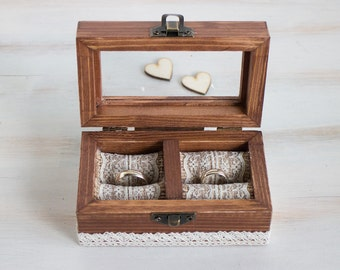 Ring Bearer Box Wedding Ring Box Personalized Ring Box Rustic