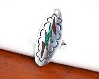 Southwest Thunderbolt Ring Size 6 .75 Long Lightning Strike Vintage Sterling Silver Chip Turquoise Red Coral Statement Ring