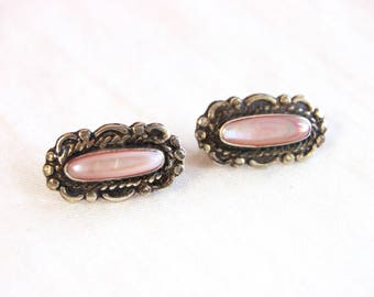 Southwestern Mother of Pearl Earrings Long Pink Studs Vintage Jewelry Sterling Silver Posts Southwest MOP Jewelry
