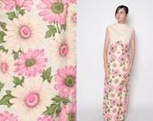 HUGE SALE Vintage 60s Maxi Dress / Floral Maxi Dress / Mod Dress / Pastels / M L