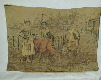 Antique French Pillow Tapestry Pastoral Scene