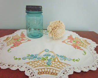 Embroidered Floral Doily, Crocheted Edges, Mid Century, Vintage, Cottage Chic, Shabby Chic