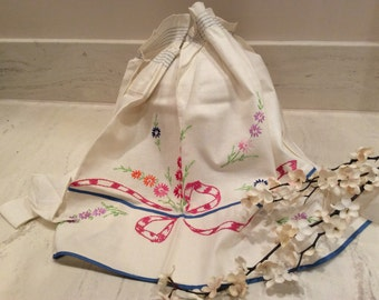 Ivory Apron with Blue Smocking  and Edging with Bow and Flower Embroidery, Vintage Cooking Apron, Vintage Kitchen, Vintage Retro Apron