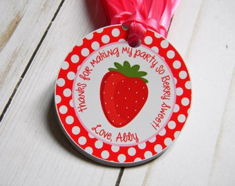 Strawberry Birthday Party Personalized Favor Tags, Thank You Tags, Treat Tags, Goody Bags,  Party Favors, Party Decorations, Set of 12