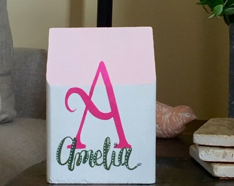 Girls Pink & White Name Decor