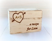 SALE Recipe Box, Wedding Shower, Personalized Rustic Vintage Bridal Shower Gift