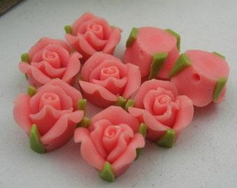 8 pcs- 8mm  Fimo Rose Flower, Pink