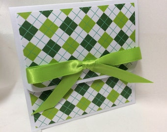Green Plaid Wrapped Christmas Gift Card Holder