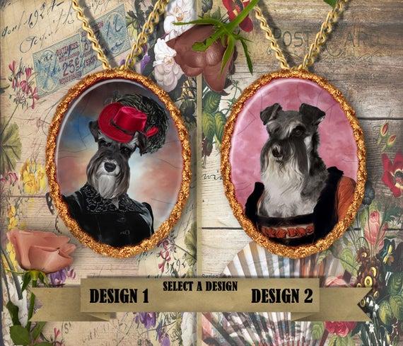 Miniature Schnauzer Jewelry. Schnauzer Pendant or Brooch. Schnauzer Necklace.  Miniature Schnauzer  Portrait. Custom Dog Jewelry.Handmade