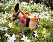 Donkey PDF pattern, Mexican donkey, Pompom,