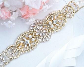 Gold Bridal Crystal, Pearl sash. Rhinestone Applique Wedding Belt. Bride Sash,vintage sash belt