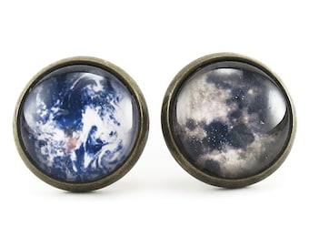 Earth And Moon Stud Earrings, Galaxy Jewelry, Nerd Space Ear Rings (11240439BSER)