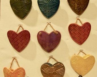 Ceramic hanging pocket hearts