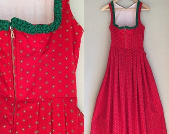 Vintage 1950s German Bavarian Dirndl folk dress size XS red designer Johanna Rappel