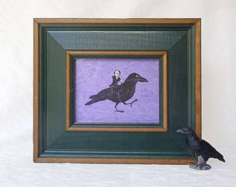 Poe on Raven, Giclee print in, green frame,Susan Sanford Art