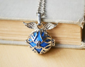 Blue Chime Silver Angel Caller Harmony Ball Necklace