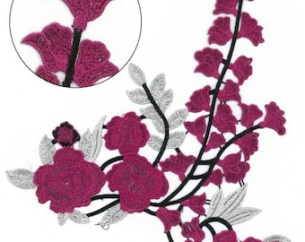 Flowers Branch Embroidered Applique Extra Large