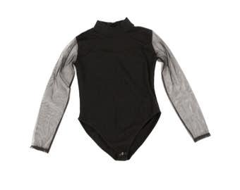 Vintage 1980's Black Sheer Mesh Sweetheart Bust High Collar Long Sleeve Grunge Bodysuit  Body Suit M L
