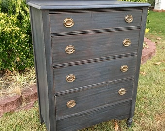 SOLD ** Vintage Chic Aged Black Dresser  / Chest Of Drawers