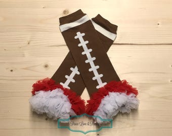 Scarlet and White Chiffon Ruffled Football Leg Warmers, Ohio Baby,  Buckeyes Baby, Baby Girl Ruffled Legwarmers, Red and White Legwarmers