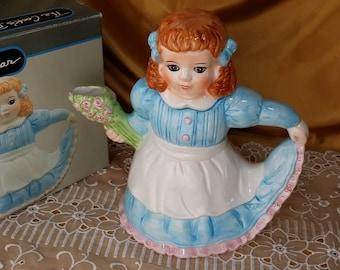 Vintage Sarah Jane Cooks Bazaar Figural Tea Pot nib iob iop nip teapot girl *eb