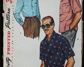 60off Sale Simplicity 4981 1970s 70s Mens Short Sleeved Dress Shirt Sports Shirt Vintage Sewing Pattern Size Medium Neck 15-15.5