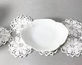 RS Germany White Oval Scalloped Relish Dish, Celery Dish, Trinket Bowl, Butter Dish, Antique Dish, Vintage Dish Bowl
