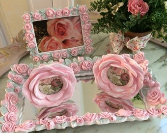 5 piece Shabby, romantic pink rose vanity set, picture frame, mirrored tray, floral plant