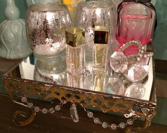 Rusty display plate, bathroom decoration, jewelry display, mirrored tray
