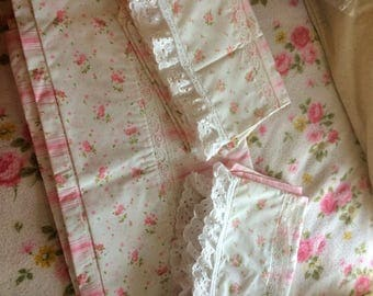 VINTAGE sheets shabby pink FULL flat and 2 pillowcases