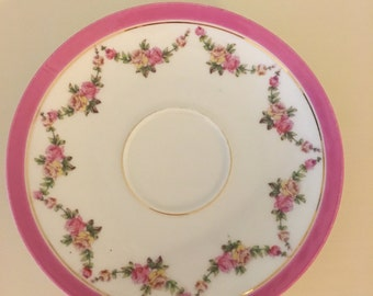 Pink and Yellow Rose Limoges Teacup Saucer