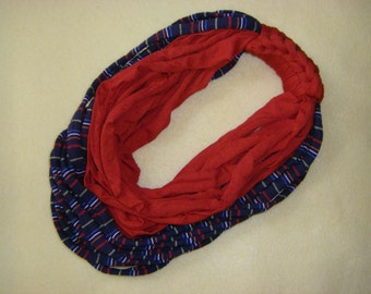 Recycled T-shirt Infinity Scarf Fabric Necklace - red and blue multicolored striped upcycled tshirt scarf necklace, tshirt yarn, tarn