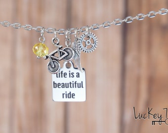 Cycling Necklace, Cycling Charm Necklace, Bicycle Necklace, Bike Jewelry, Ride Necklace, Bicycle Jewelry, Cycling Jewelry, Bike Necklace