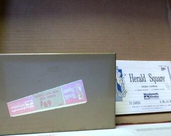 Herald Square Metal index Card Box & index cards Vintage un-used