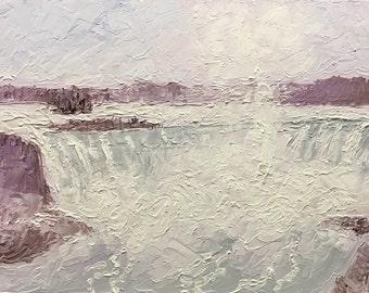 "Original Impressionist style Impasto oil painting ""Misty Niagara"" 11x14 Niagara Falls Art"