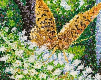 "Original Acrylic Pointillist Painting by Michigan Artist 5x7 ""Butterfly Bush"""