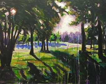 """Original Acrylic Expressionist Painting by Michigan Artist 18x24 """"First Light"""""""