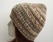 Brown Multi Crochet Beanie Heavy Warm Weight Beanie Chunky Beanie Unisex Brown Beige Grey Warm Cozy Crocheted Hat (HAT102 Smoky Quartz)