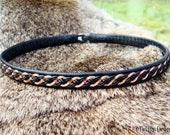 Viking Necklace DRAUPNIR Copper and Black Leather Sami Choker - Custom Handmade to Your Size and Color