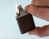 Working 1930s Golden Wheel Automatic Pocket Lighter With Snakeskin Covering