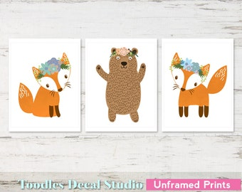 "Fox Wall Art Prints for Girls, 8"" x 10"" Bear Prints, floral crown art, Baby Wall Art, Unframed prints"