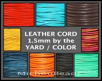 1.5mm Round Indian LEATHER Cord - Lead Free Natural Regular / Distressed Leather by the Yard Wholesale - Pick COLOR / LENGTH - Usa Seller