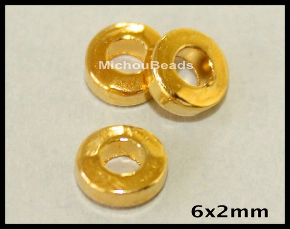 100 GOLD 6mm Washer Heishi Beads - 6X2mm TIBETAN Style Large 2.6mm Hole Boho Metal Flat Ring Slider Disc - Donut Rondelle Spacer Beads  5555