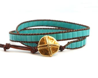 Turquoise Wrap Bracelet, Turquoise Bracelet, Boyfriend Gift, Mens wrap bracelet, Leather Wrap Bracelet, Boho Bracelet, Gift for him