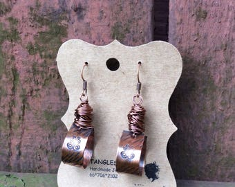 Hand Stamped Copper Earrings, Boho Style Earrings, Wirewrapped Earrings