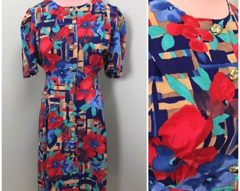 Vibrant 80s red blue and green patch floral secretary dress size large